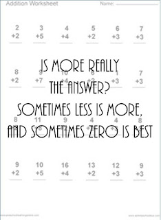 less is more, sometimes zero is best with multiplication worksheet in background