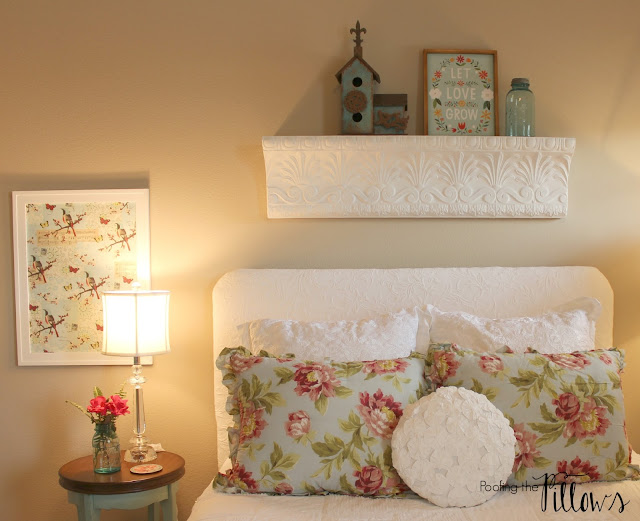 Cottage guest bedroom completed at Poofing the Pillows as part of the One Room Challenge at Calling it Home