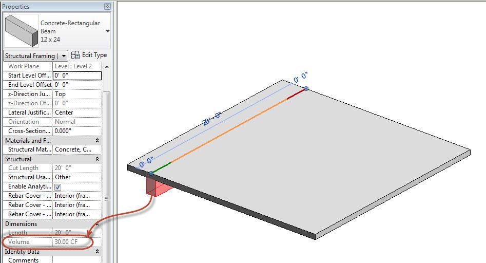 Volume Of Concrete Slab : Revit oped concrete volume between slab and beams