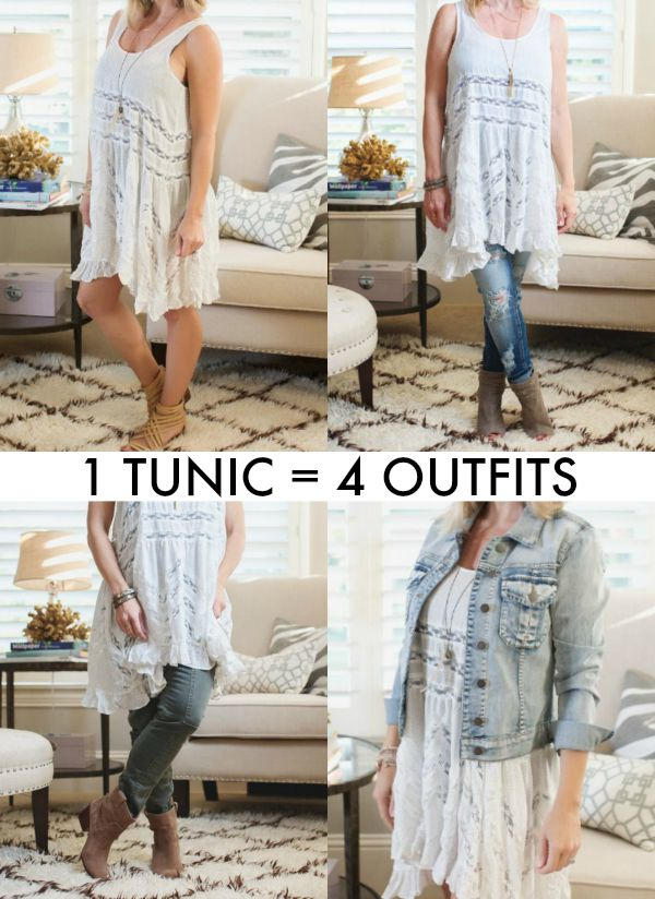 Fall Fashion - Free People Lace Trim Tunic worn 4 ways