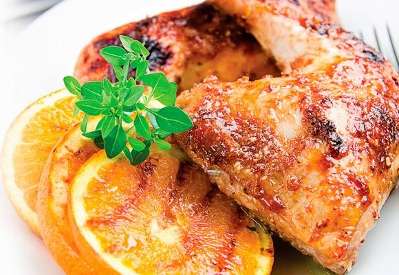 Sobrecoxa de frango com hortelã e laranja light
