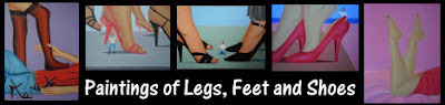 Saucy paintings of legs, feet and shoes and also shrunk en and submissive men.