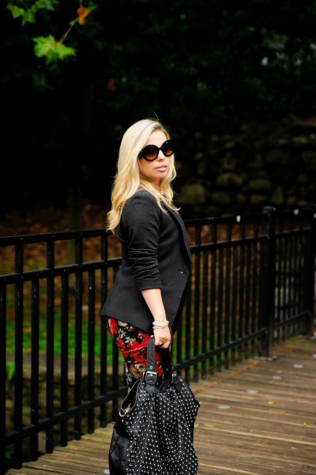 Urban Outfitters Fall Floral pants, Nordstrom Gibson One Button Fleece Blazer, Basic white t-shirt, Michael Kors Runway Twist Watch Safari Print, David Yurman 5mm Cable Buckle Bracelet and Black Onyx and Silver ring, Prada Baroque Round sunglasses