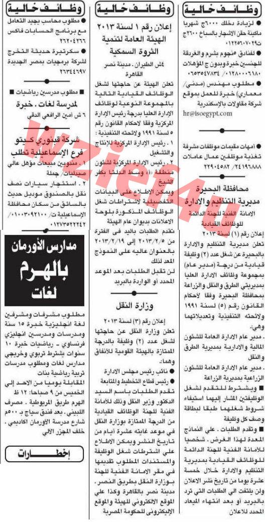 وظائف جريدة الأهرام الأحد 3 فبراير 2013 -وظائف مصر الاحد 3-2-2013