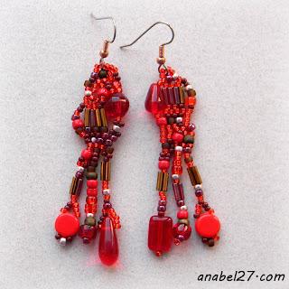 Красные фриформ-серьги из бисера - 214 / 365