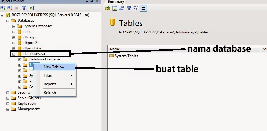 Membuat Database dan Table di SQL Server