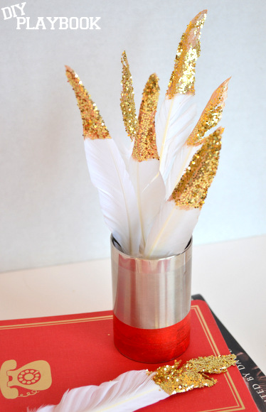 Cluster the glitter flowers together for some sparkly table decor