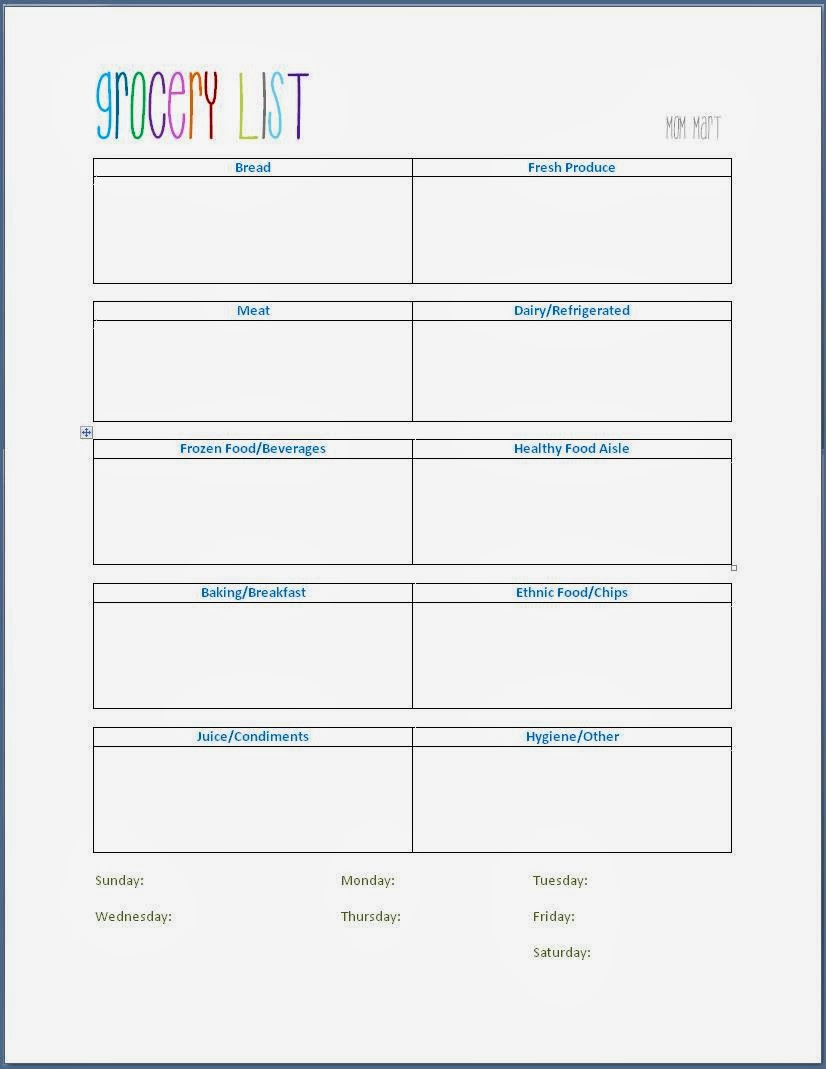 Grocery Shopping Template #FreePrintable for a weekly grocery list