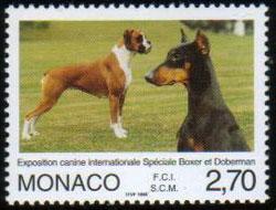 1998年モナコ公国 ボクサーとドーベルマンの切手