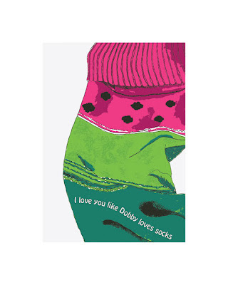 drawing of a watermelon patterned sock with text added
