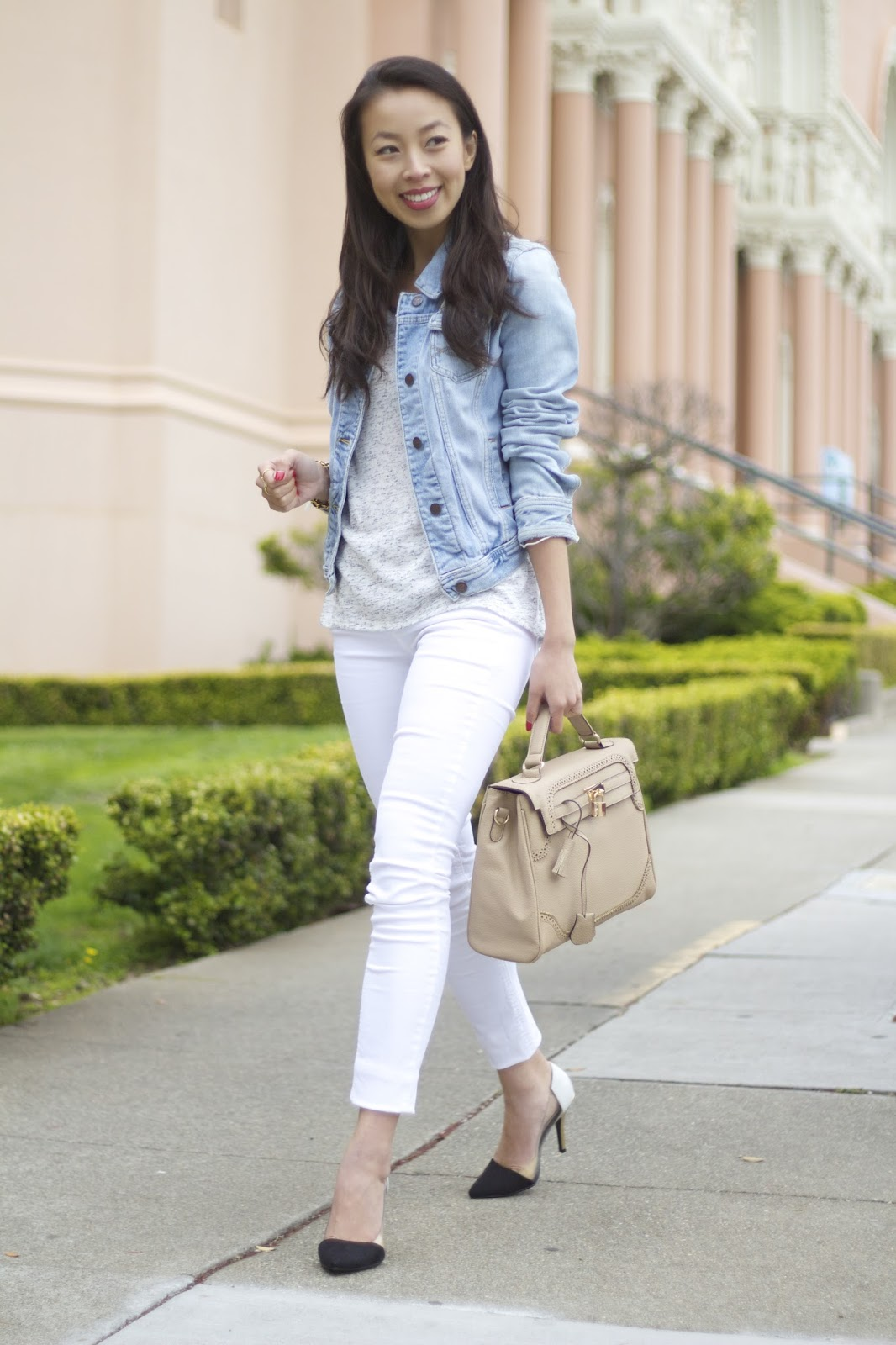 Connnietang: Denim Jacket and White Jeans