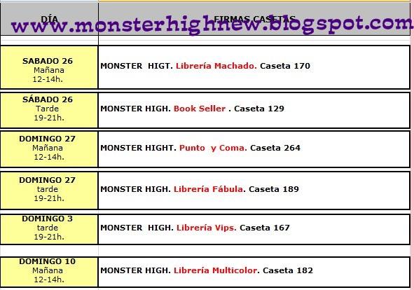 Monster high new nuevo horarios de firmas de libros en - Casa del libro madrid horario ...