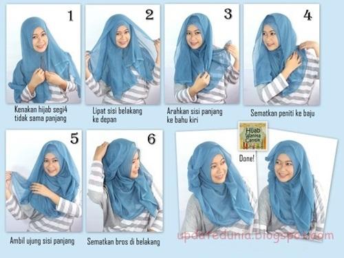 Tutorial Hijab Simple Segi Empat Terbaru