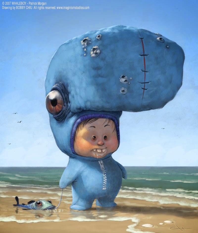 illustration de Bobby Chiu représentant un petit garçon avec un costume de monstre bleu