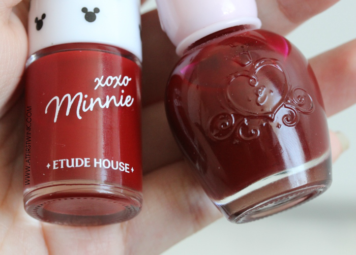 Etude House nail polishes compared: wine red