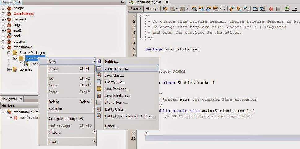 jframe - Membuat Kegiatan Mean Dengan Java Dan Mysql