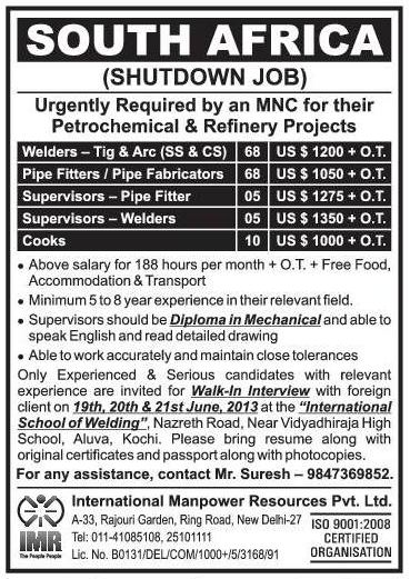 shutdown jobs  south africa petrochemical refinery projects gulf jobs  malayalees