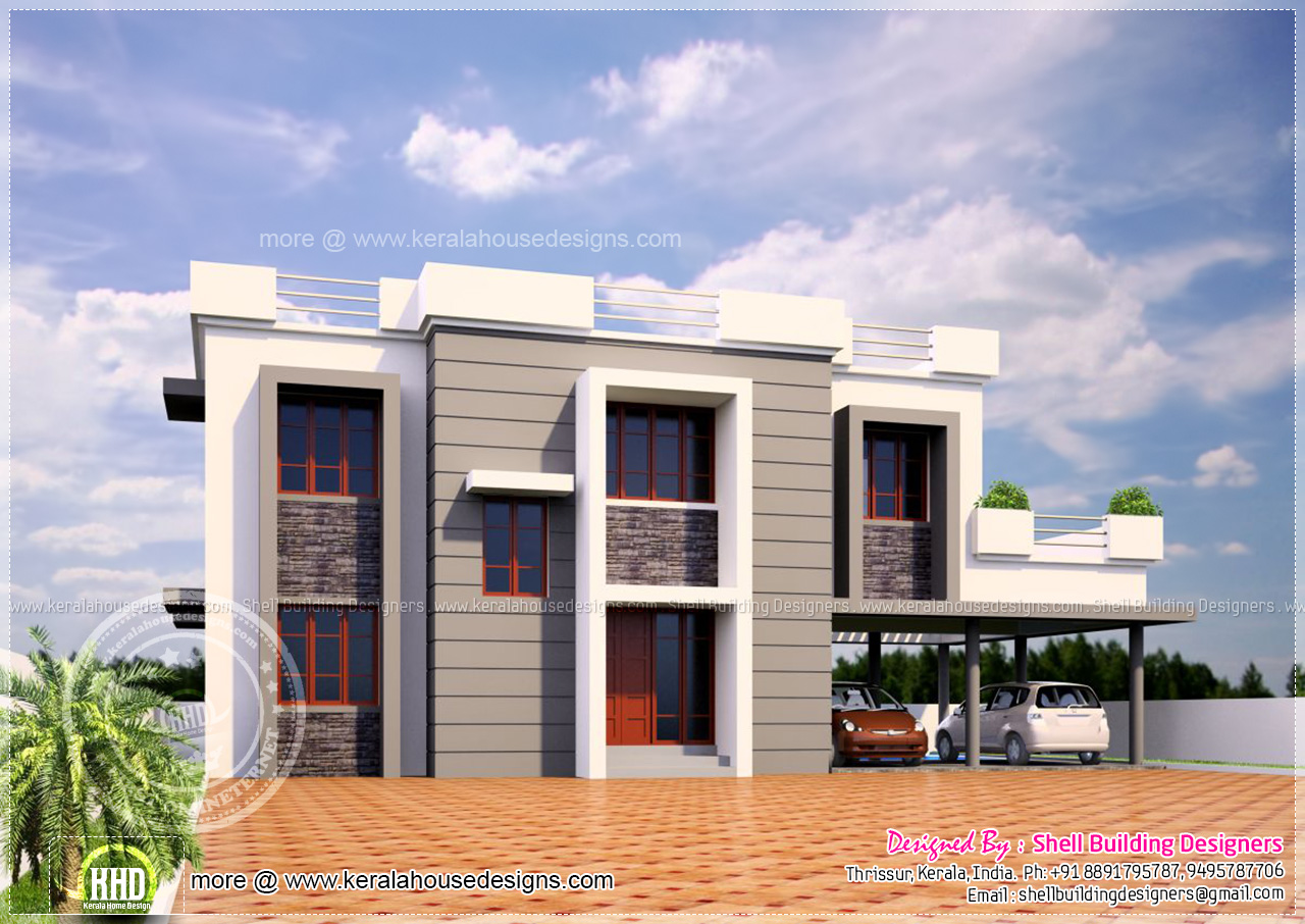 1622 square feet contemporary home kerala home design for Modern square house