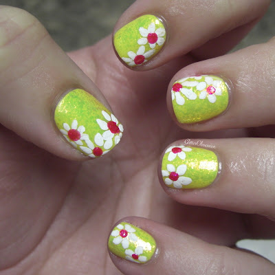 floral, daisies, flowers, free hand, nail art