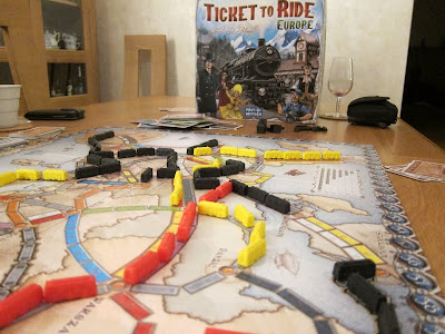 Ticket To Ride: Europe - The board and other components as the game nears its end
