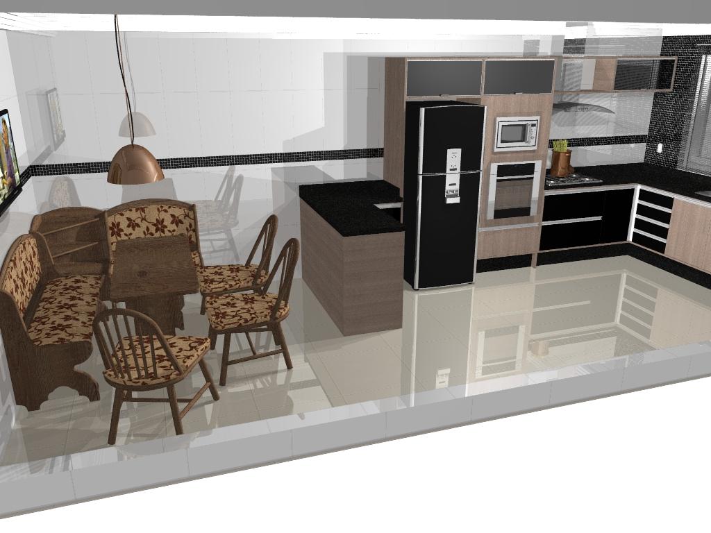 Cozinha de porte médio estilo americano com canto alemão de madeira  #735F4A 1024 768