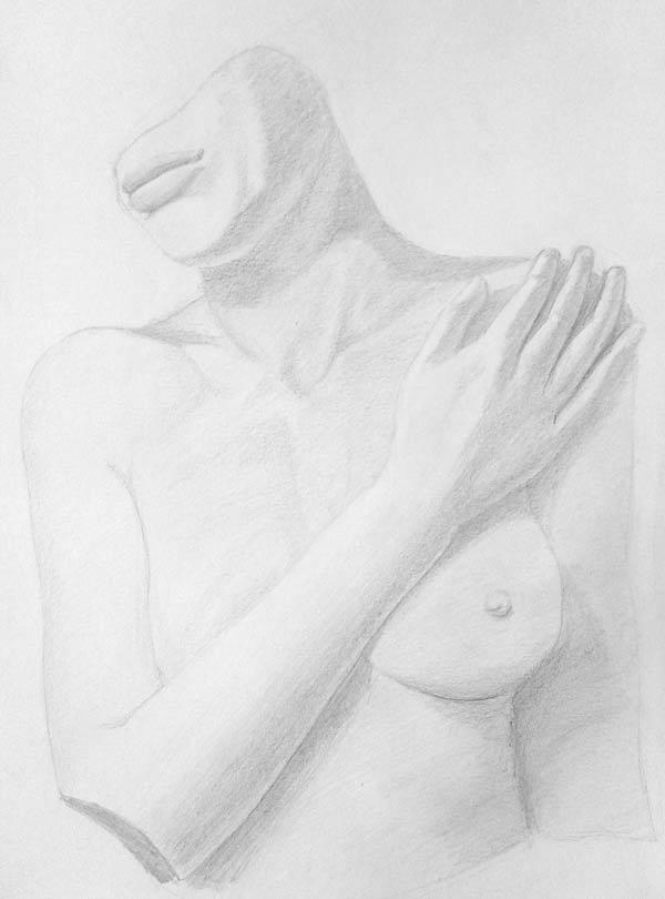desnudo femenino a lápiz