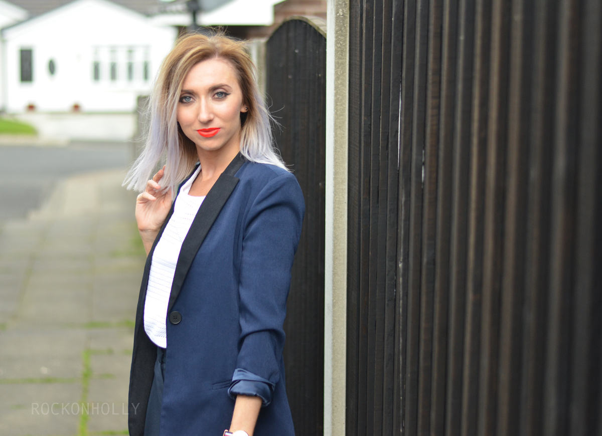 Nautical outfit with navy blazer