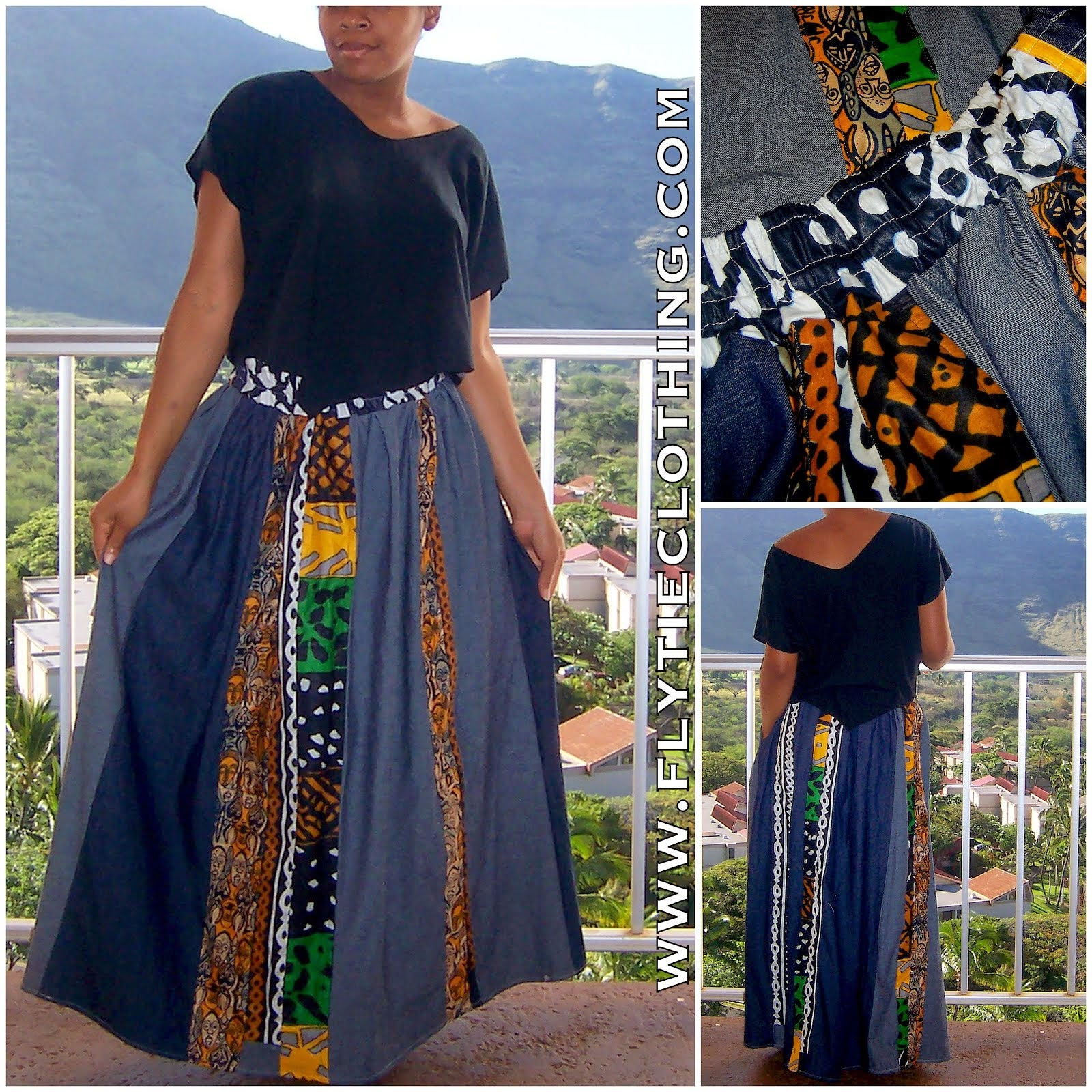Denim/Kente Pleated Pathwork Skirt