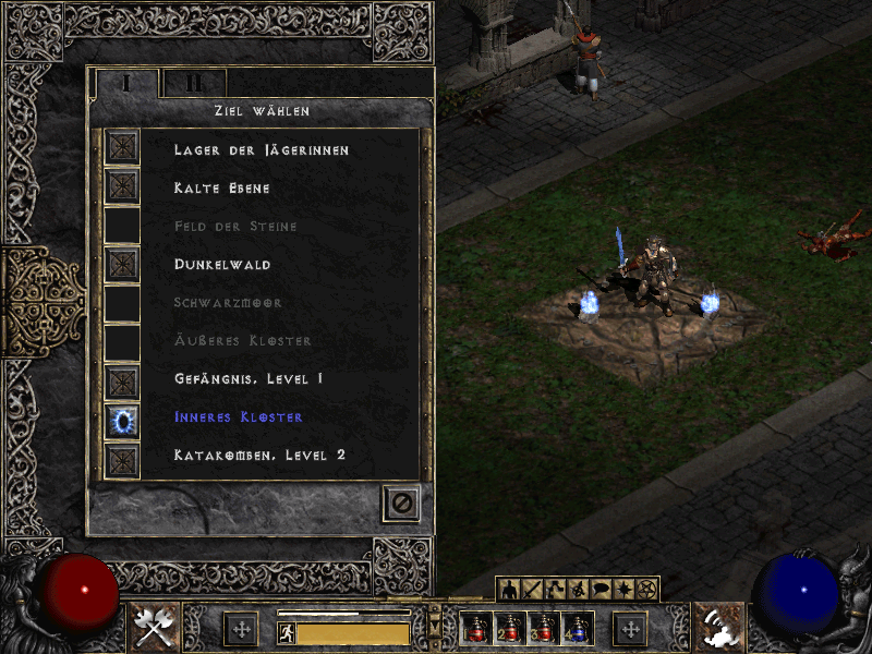 Screenshot from Diablo 2 showcases a game with randomly generated dungeons