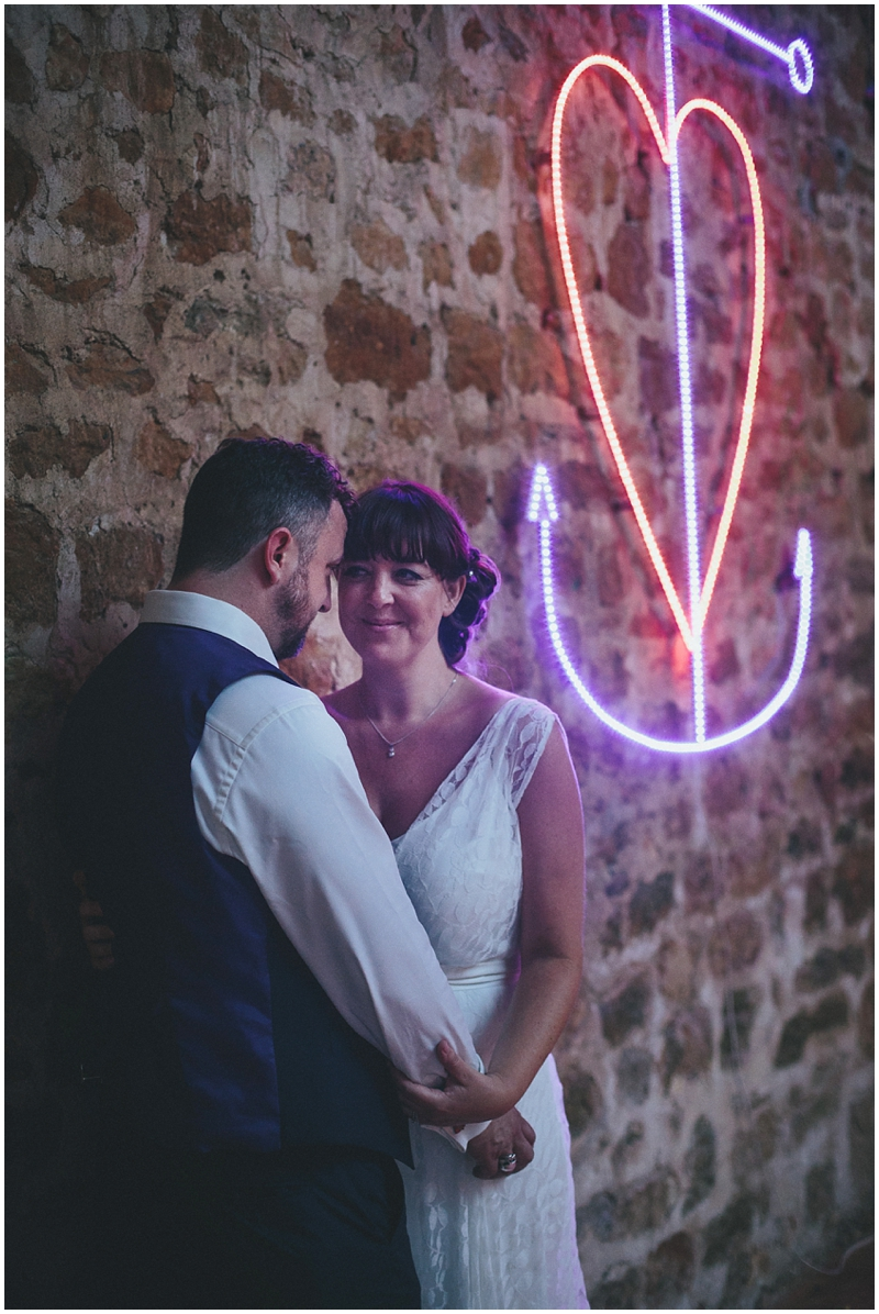 Bride and groom at the Tithe Barn, Symondsbury