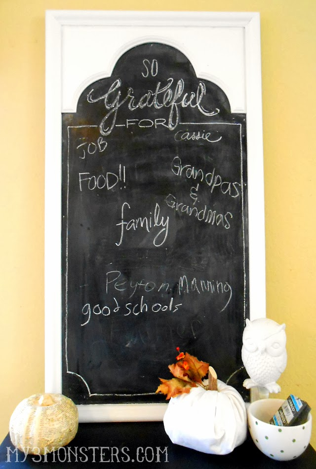 Use your decorative chalkboard to express your gratitude for blessings!  at my3monsters.com