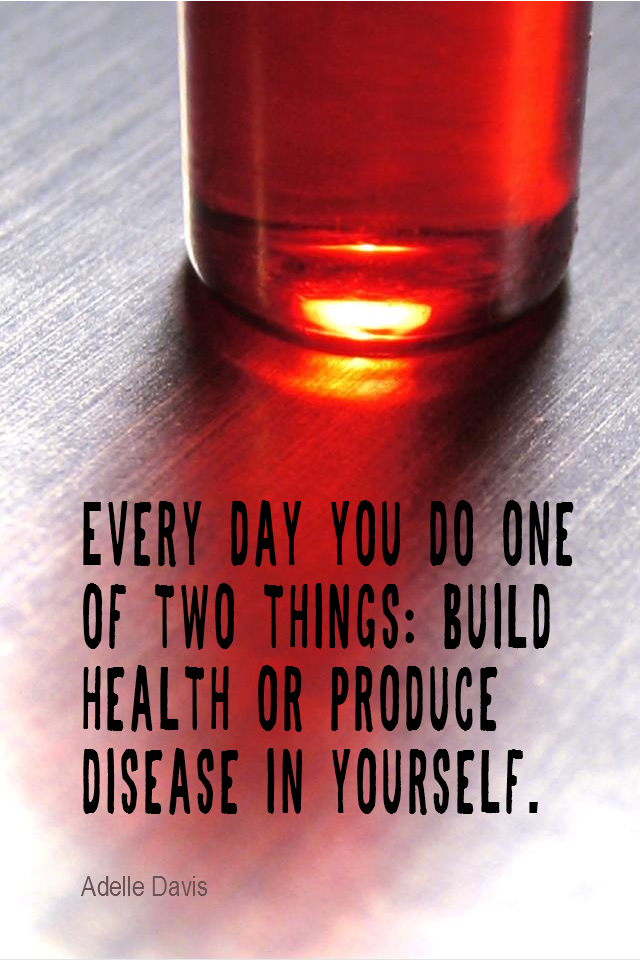 visual quote - image quotation for HEALTH - Every day you do one of two things: Build health or produce disease in yourself. - Adelle Davis