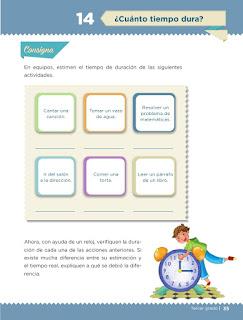 Apoyo Primaria Desafíos matemáticos 3er grado Bloque 1 lección 14 ¿Cuánto tiempo dura?