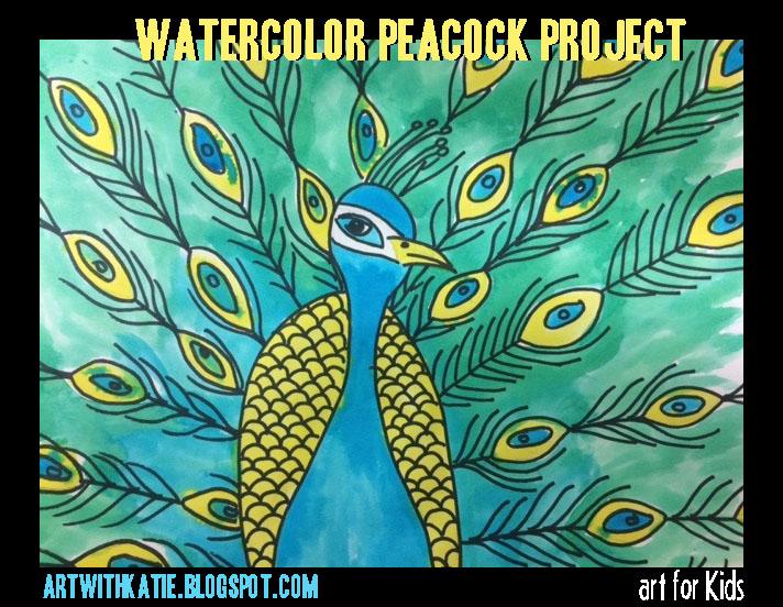 Art For Kids Watercolor Peacocks