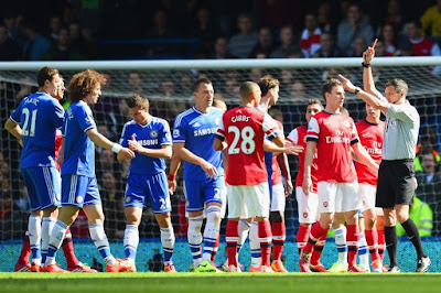Red card image EPL Chelsea vs Arsenal Match