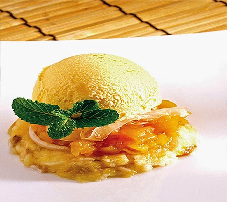 Millefeuille of tropical Fruit Compote with Coconut Caramel Sauce and Mantecado Ice Cream Recipe