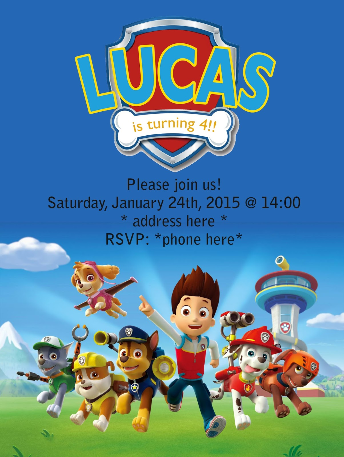 Lucas Paw Patrol 4th Birthday Party