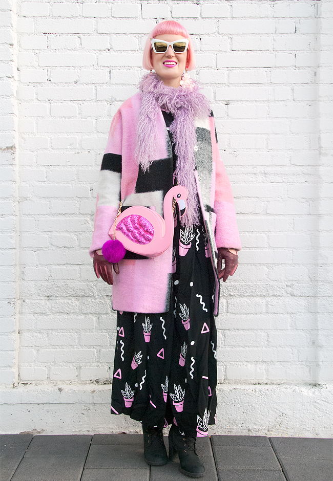pink winter look, flamingo bag, maxi dress