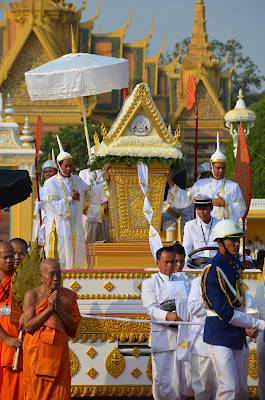 Funeral procession and coffin of King Norodom Sihanouk, Phnom Penh, Cambodia