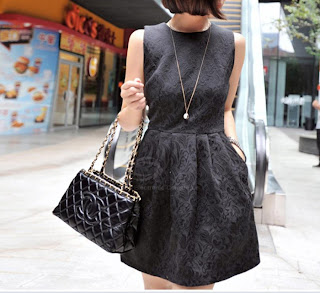 Short Black Jacquard Dress