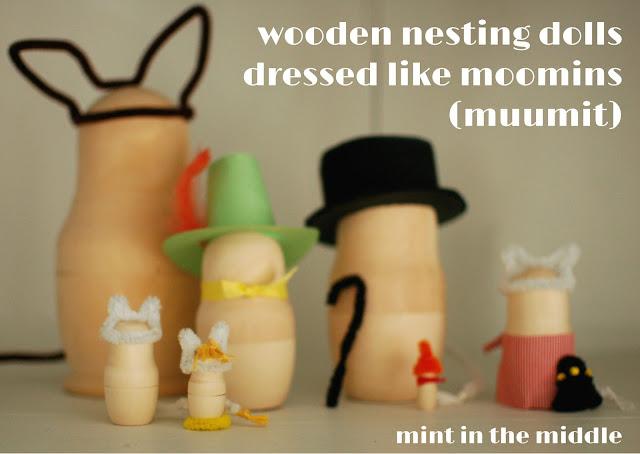 puiset muumit / wooden moomin nesting dolls