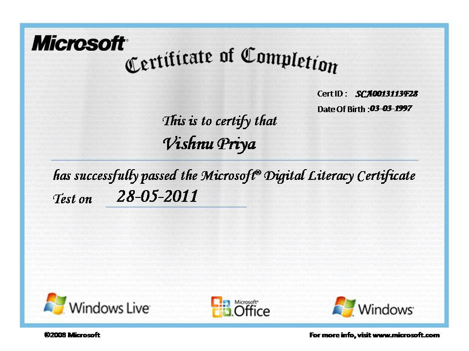 Deepam Microsoft Digital Literacy Certification