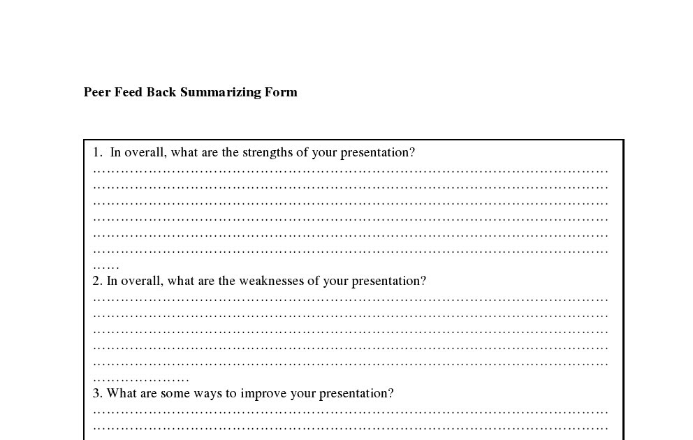 Public Speaking Class Peer Feedback Summarizing Form