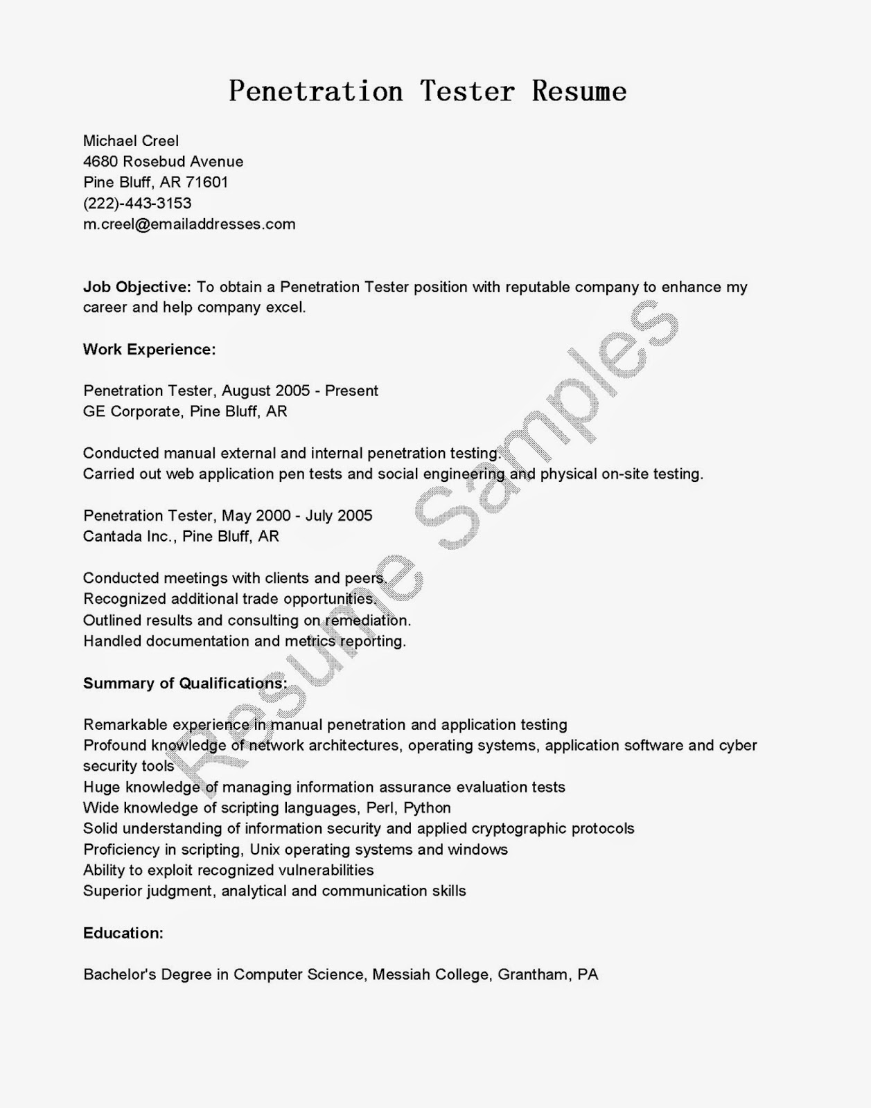 resume samples penetration tester resume sample