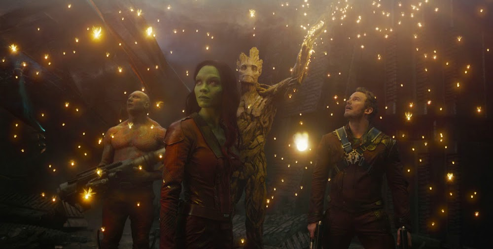 Dave Bautista, Zoe Saldana, Chris Pratt, and Vin Diesel in Guardians of the Galaxy