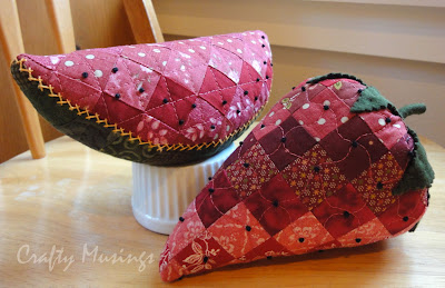 Fruit Salad Pincushions-- watermelon and strawberry