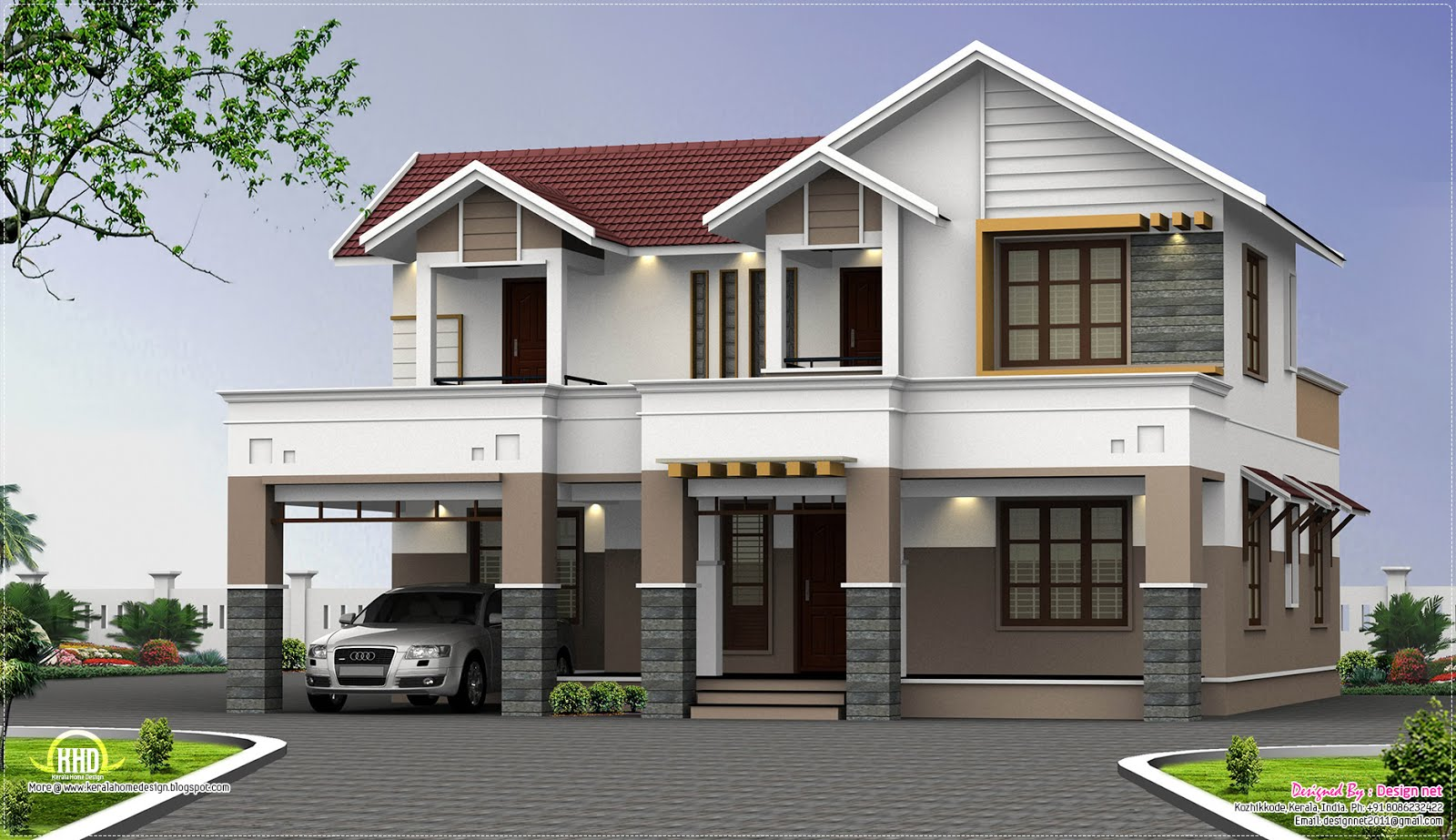 2500 two storey house elevation kerala home for Two storey house design with floor plan with elevation