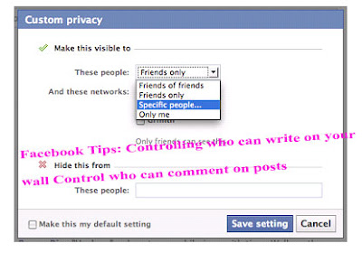 Facebook Tips: Controlling who can write on your   wall Control who can comment on posts
