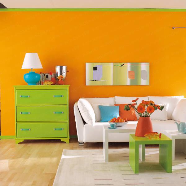 Sala De Estar Naranja ~ En esta foto de decoración de sala vemos como los colores fuertes