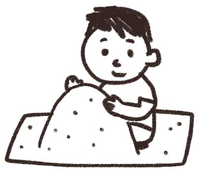 砂場で遊ぶ男の子のイラスト 白黒線画